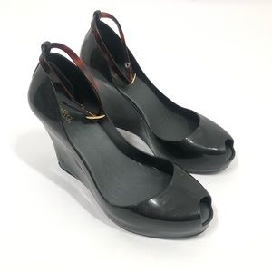 Melissa Black Patchuli Jelly Wedge Heels Size 10